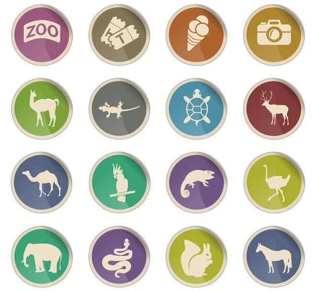 Ikony sieci zoo w postaci okrągłych etykiet papierowych