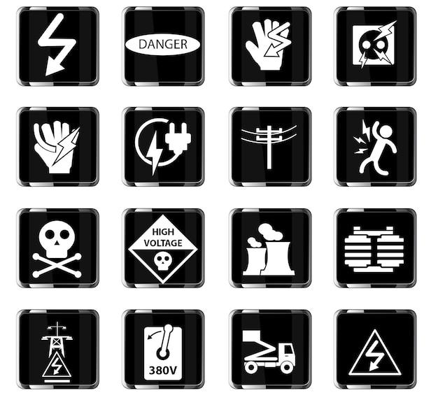 Ikony sieciowe wysokiego napięcia do projektowania interfejsu użytkownika
