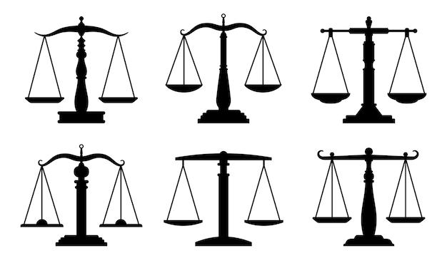 Ikony skali handlu lub prawa. prawnicy wagi, symbole porównawcze, znaki równowagi i równoważenia na białym tle