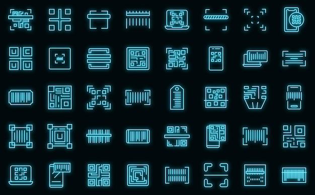 Ikony skanowania kodu zestaw wektor zarys. kod kreskowy qr. skaner telefonu komórkowego