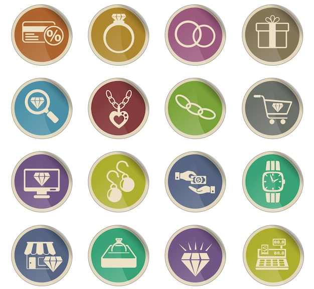 Ikony sklepów jubilerskich w postaci okrągłych etykiet papierowych