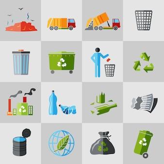 Ikony śmieci płaskie