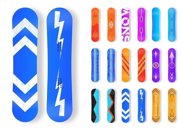Ikony sportów zimowych snowboardu. zestaw różnych desek snowboardowych.