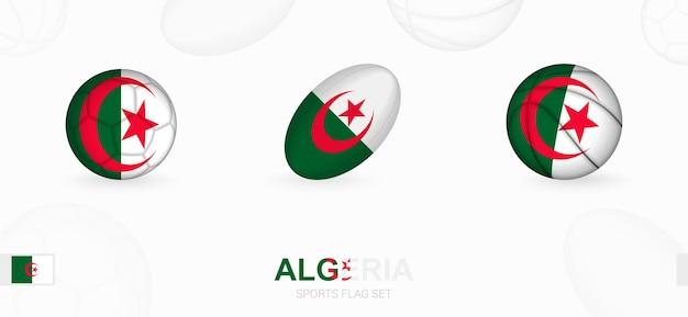 Ikony sportowe do piłki nożnej, rugby i koszykówki z flagą algierii.
