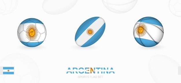 Ikony sportowe do piłki nożnej rugby i koszykówki z flagą argentyny