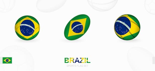 Ikony sportowe do piłki nożnej, rugby i koszykówki z flagą brazylii