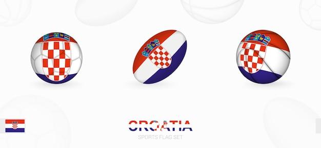 Ikony sportowe do piłki nożnej, rugby i koszykówki z flagą chorwacji.