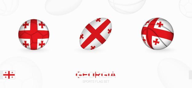 Ikony sportowe do piłki nożnej, rugby i koszykówki z flagą gruzji.