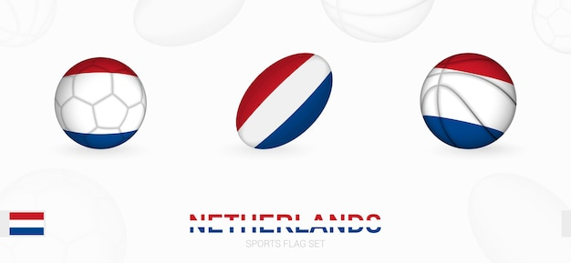 Ikony sportowe do piłki nożnej, rugby i koszykówki z flagą holandii.