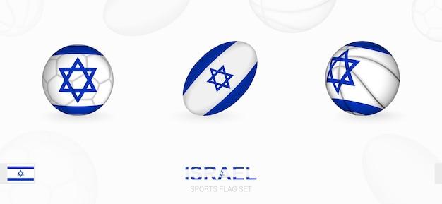 Ikony sportowe do piłki nożnej, rugby i koszykówki z flagą izraela.