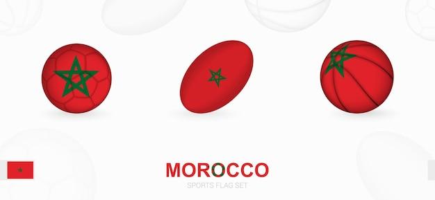 Ikony sportowe do piłki nożnej, rugby i koszykówki z flagą maroka.