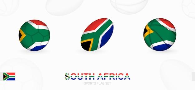 Ikony sportowe do piłki nożnej, rugby i koszykówki z flagą republiki południowej afryki.
