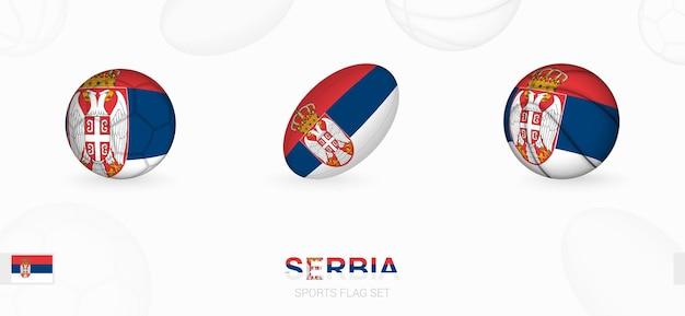Ikony sportowe do piłki nożnej, rugby i koszykówki z flagą serbii.