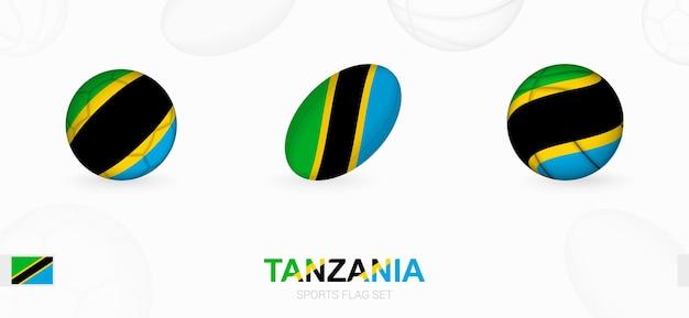 Ikony sportowe do piłki nożnej, rugby i koszykówki z flagą tanzanii.