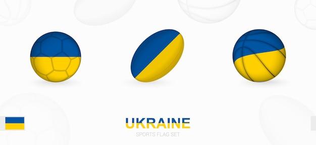 Ikony sportowe do piłki nożnej, rugby i koszykówki z flagą ukrainy.