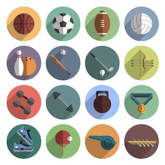 Ikony sportowe ustawiają cień na płasko