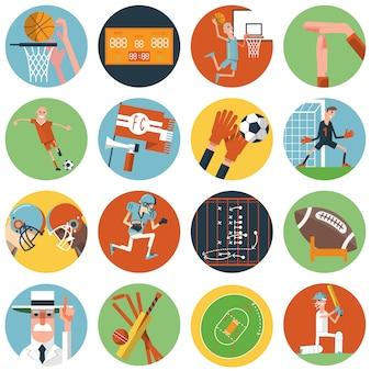Ikony sportowe zespołu ustawione płasko