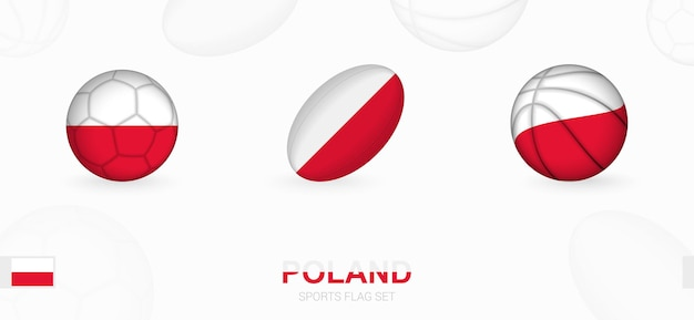 Ikony sportu do piłki nożnej, rugby i koszykówki z flagą polski.