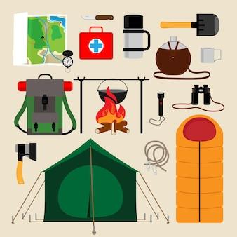 Ikony sprzętu kempingowego. udogodnienia dla turystyki, rekreacji, przetrwania na wolności. ilustracji wektorowych