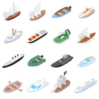 Ikony statków i łodzi w izometrycznym stylu 3d. elementy żeglarskie zestaw ilustracji wektorowych kolekcji