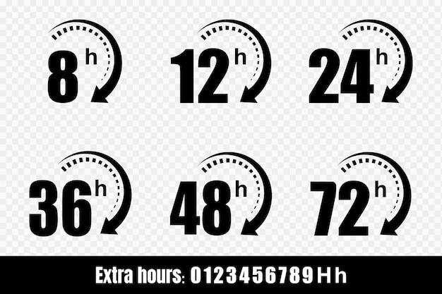 Ikony strzałek zegara 8, 12, 24, 48 i 72 godzin. usługa dostawy, oferta online pozostały czas symbole strony internetowej. ilustracja.