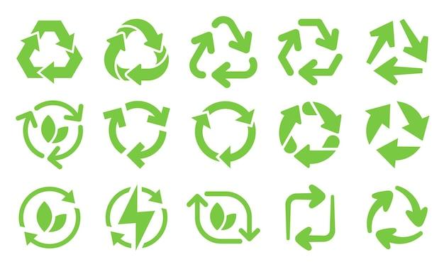 Ikony strzałki recyklingu zielony eco. przeładuj strzały, nadające się do recyklingu śmieci i zestaw ikon ekologicznego recyklingu biologicznego.