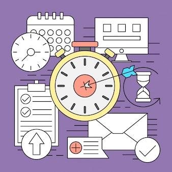 Ikony stylów liniowych minimalna strona internetowa i elementy biznesowe