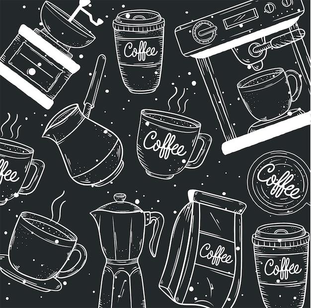 Ikony stylu doodle wzór kawy