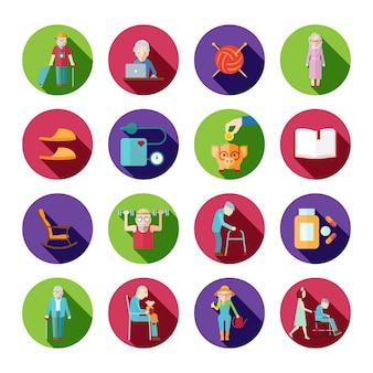 Ikony stylu życia starszy zestaw z symbolami starych ludzi na białym tle ilustracji wektorowych