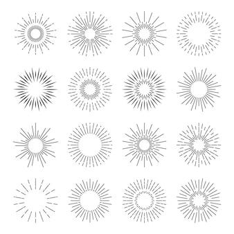 Ikony sunburst starburst spark blast logo wektor sun burst promienie zestaw odznak wybuchu słońca