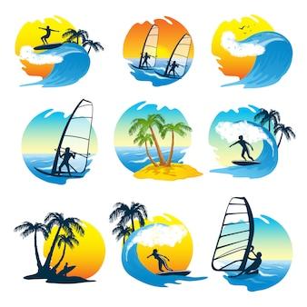 Ikony surfing zestaw z ludźmi