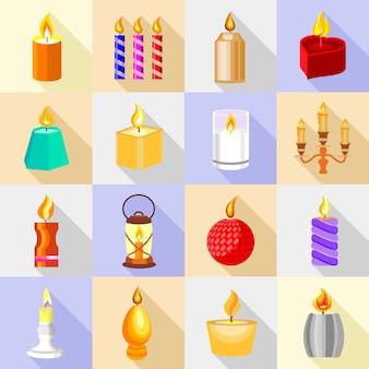 Ikony świecowe ustawiają światło płomienia.