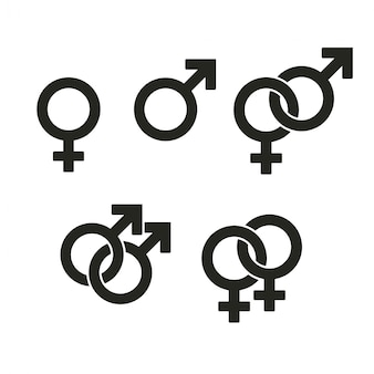 Ikony symboli płci. przeplatają się znaki wrogości queer i prostej pary.