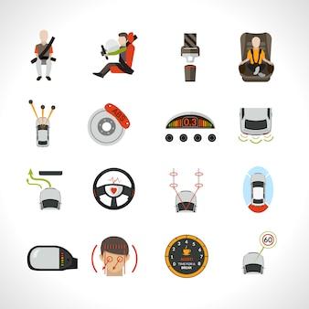 Ikony systemu bezpieczeństwa samochodu