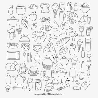 Ikony szkicowy żywności