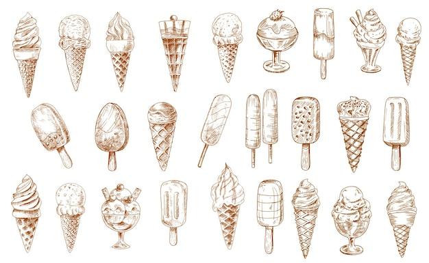 Ikony szkicu lodów, na białym tle mrożone kremowe desery