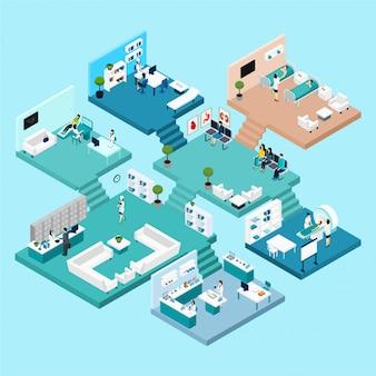 Ikony szpitala schemat izometryczny z różnymi szafkami i pokojami