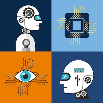 Ikony sztucznej inteligencji zestaw technologii