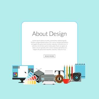 Ikony sztuki projektowania cyfrowych stos poniżej ramki z miejscem na tekst