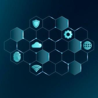 Ikony technologii chmury ai, wektorowe symbole sieci cyfrowej