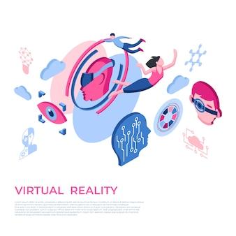 Ikony technologii rzeczywistości wirtualnej z ludźmi