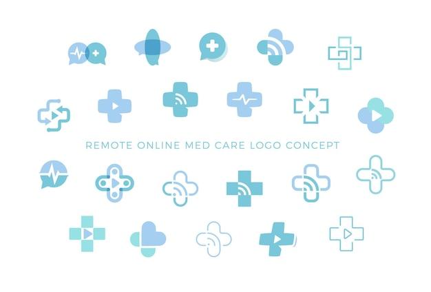 Ikony telemedycyny ustawiają kolekcję medycznych znaków krzyża