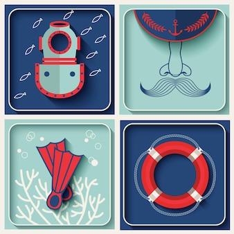 Ikony tematu morskiego wektor