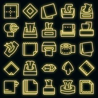 Ikony tkanki wektor zestaw neon