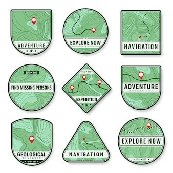 Ikony topograficzne. ekspedycja, eksploracja obszaru i badania geologiczne wektorowe ikony. pin lub znaki nawigacyjne, cel podróży, trasa wyprawy lub wycieczki, mapa topograficzna z konturami reliefu