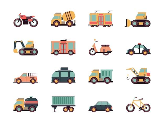 Ikony transportu. pojazdy miejskie samochody autobusy samolot transport paliwa kolorowe symbole