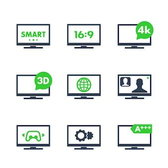 Ikony tv, rozdzielczość 4k, 3d, smart tv, proporcje, ilustracja wektorowa