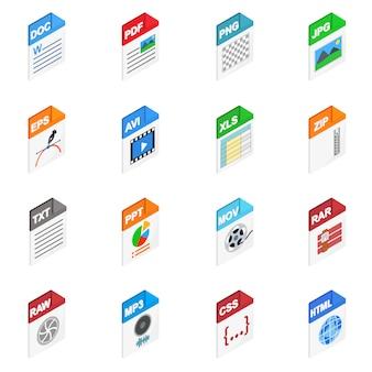 Ikony typów plików w izometryczny styl 3d na białym tle