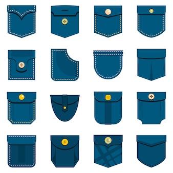 Ikony typu kieszonkowego ustawione w stylu płaskim