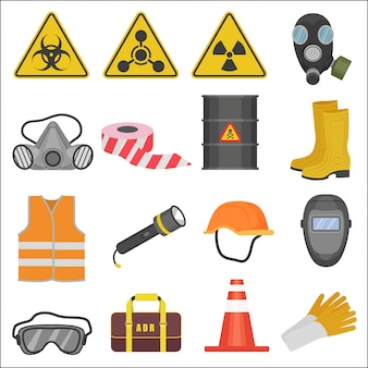 Ikony urządzeń bezpieczeństwa pracy przemysłowej